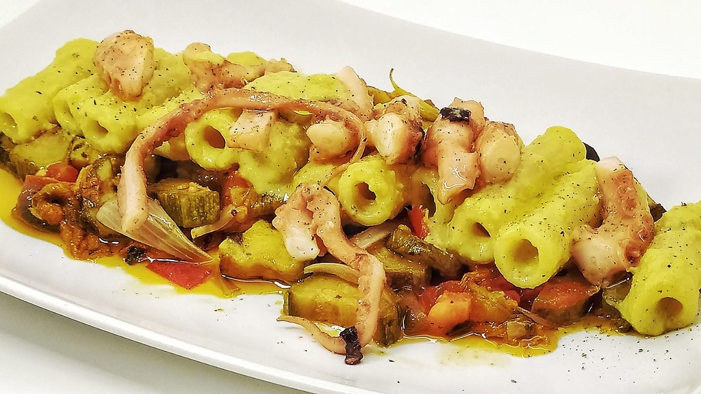 Pasta Benedetto Cavalieri con Polpo e Zucchine allo Zabaione Profumato